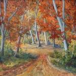 Šuma u jesen, ulje staklo, 40x50, 2004.