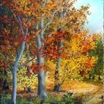 Šuma u jesen, ulje-staklo,30x25