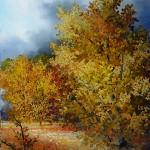 Šuma u jesen,ulje- staklo, 25x20