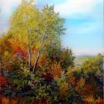 Šumarak u jesen, ulje- staklo, 25x30