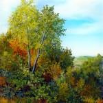 Šumarak u jesen, ulje- staklo 30x25