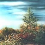 1. Kuruznica kraj šume, ulje-staklo, 30x25, 1991.