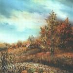 13. Buće uz put, ulje-staklo, 25x30, 1993.