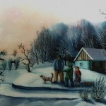 13. Zimsko jutro, ulje-staklo 35x45, 1983.