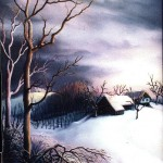 15. Zimsko predvećerje, ulje-staklo, 25x20 1983.