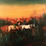 16. Konji, ulje-staklo, 30x40 1983.