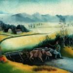 17. Foringauš s kravama, ulje-staklo,30x35 1979.