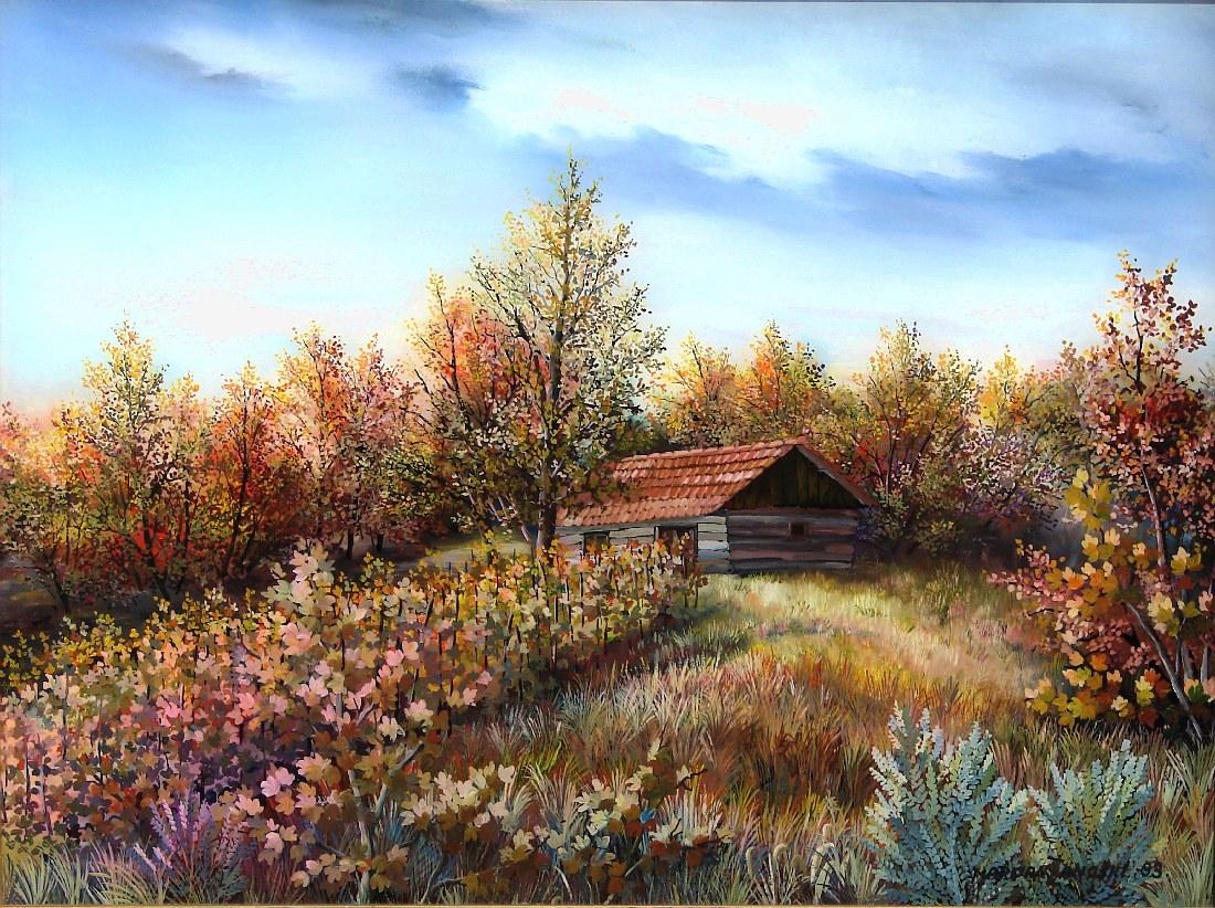 20. Klijet na rubu šume, ulje-staklo, 30×40 1993. « Marijan Zanoški