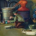 21. Kuhanje rakije, ulje-staklo, 25x30 1979