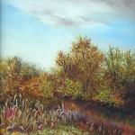 22. Jesen u polju,  ulje-staklo, 30x25 1993.