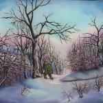 24. Čovjek u snijegu, ulje-staklo, 25x30, 1985.