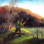 24. Drvosjeća u proljeće, ulje-staklo, 35x35, 1979.