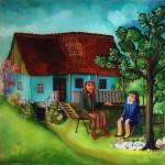25. Babica i unuka, ulje-staklo, 35x35, 1979.