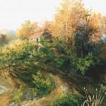 26. Klijet kraj šume, ulje-staklo, 25x30. 1994.