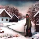 27. Zima  u selu, ulje-staklo, 30x40, 1980.