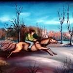 28. Nočni jahać, ulje-staklo, 20x25, 1985.