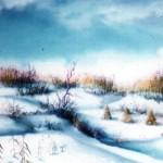 28.Zima u polju, ulje-staklo, 30x40 1980.