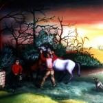 3. Napajanje konja, ulje-staklo,30x40 1982.