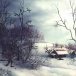 36. Zaselak kraj šume, zimi ulje-staklo, 25x30, 1985.