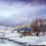 43. Zima sa smrznutim potokom, ulje-staklo, 30x40  1986.