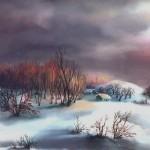 45. Hižice u snijegu, ulje-staklo, 30x40, 1987.