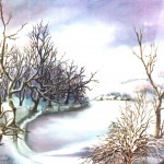 49. Zima, ulje-staklo, 25x30, 1988.