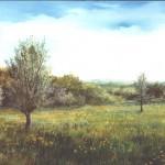 50. Livade, 25x30 ulje-staklo 1996.