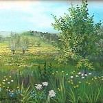 51. Livade u proljeće, ulje-staklo 25x30 1996.