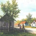 54. Jutro u selu, ulje-staklo,30x25 1997.