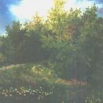 55. Proljeće kod šume, ulje-staklo, 25x20, 1997.