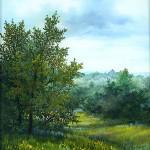 57. Jutro na rubu šume, ulje-staklo, 30x25 1997.