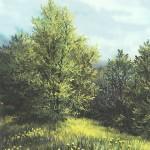 57. Na rubu šume, ulje-staklo, 30x25, 1989.