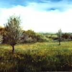 61.  Livade, ulje-staklo, 25x30, 1989.