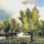 61. Vrbe, ulje-staklo,30x25, 1997.