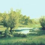 65. Pejzaž, ulje-staklo, 30x40, 1990.