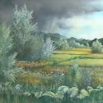 65. Pljusak nad livadama, ulje-staklo 30x40, 1998.