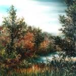67. Šuma i potok, ulje-staklo, 25x20, 1990.