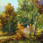 67. Šuma u jesen, ulje-staklo, 30x25, 1998.