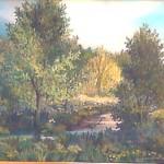 68. Potok u šumi, ulje-staklo, 40x50 1998.