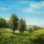 7. Dvije vrbe u proljeće, ulje -staklo, 30x40 1992.