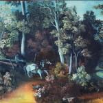 7. Foringaš u šumi, ulje-staklo 30x40 1982.