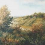 73. Vinogradi u jesen, ulje-staklo, 25x30, 1998.