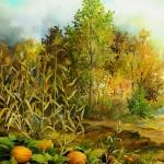 75. Buče kraj šume, ulje - staklo, 30x25, 1998.