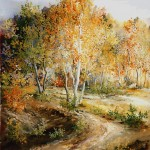 86. Šuma u jesen, ulje-staklo,30x25, 1999.
