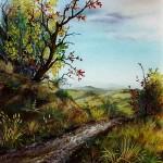 Jesenski krajolik, ulje -  staklo, 40x40