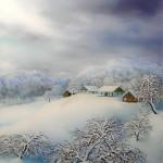 Selo zimi, ulje staklo, 35x30