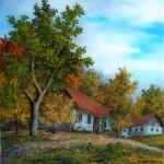 Zagorske hiže, ulje-staklo,35x30