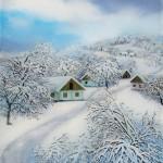Zagorsko selo zimi, ulje-staklo 35x30