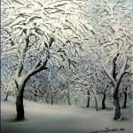 Zima 3, ulje x staklo, 2007.Batinić