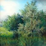 zeleno grmlje, ulje - staklo, 20x20 2004.